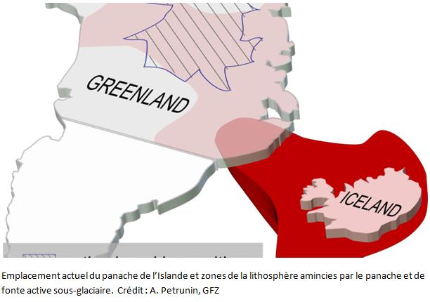 la chaleur interne de la terre fait apparaitre un panache d'eau vers l'islande